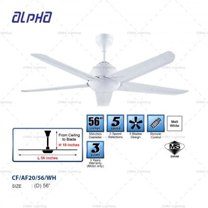 """ALPHA AF20 56""""/42"""" 5BLADE LED/NON-LED BLACK/WHITE CEILING FAN"""
