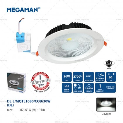 "MEGAMAN 20W/30W 6""/8"" COB LED DOWNLIGHT"